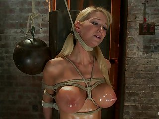 Impaled With A Huge Dildo W/Vibrator Stuck Right On Her Clit. Breath Control Makes This Girl Cum - HogTied